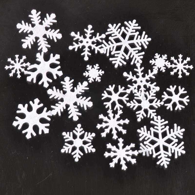 100 ชิ้น/ล็อตโพลีเอสเตอร์ Felt Christmas Snowflake Patch Applique Scrapbooking Craft Non-woven Patch DIY CP2164