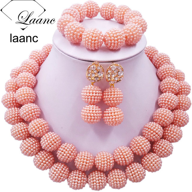 laanc Nigerian African Wedding Beads 2 Layers Multi-Color Imitation pearls Jewelry Sets 1pqXc