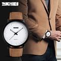 SKMEI брендовые новые модные часы с коричневым кожаным ремешком Мужские кварцевые часы водонепроницаемые мужские наручные часы