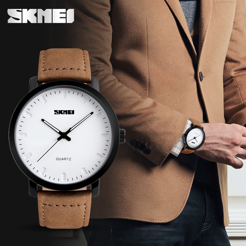 SKMEI Brand New Fashion Brown Leather Strap Watches Men Quartz Watch Waterproof Men Wristwatches