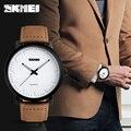 SKMEI Brand New Fashion Brown Leather Strap Watches Men Quartz Watch Waterproof Men Wristwatches