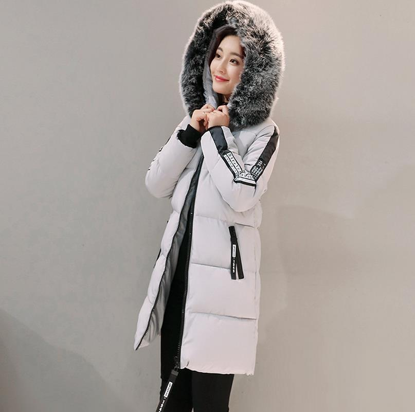 Women's Thick Warm Long Winter Jacket Women Parkas Faux Fur Collar Hooded Cotton Padded Winter Coat Female Cotton jacket G46 women winter cotton padded jacket warm slim parkas long thick coat with fur ball hooded outercoat female overknee hoodies parkas