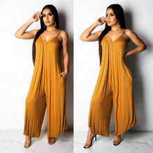 Summer Women Sexy Spaghetti Strap V Neck Romper Solid Color Casual Long Jumpsuit