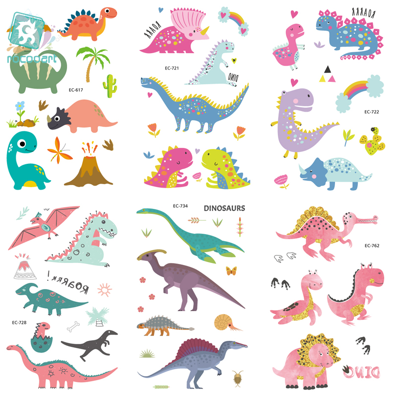 EC617-763 Dinosaure Series Tattoo Sticker Cartoon Children Cute Jurassic Park Temporary Tattoo Sticker Body Art Flash Taty