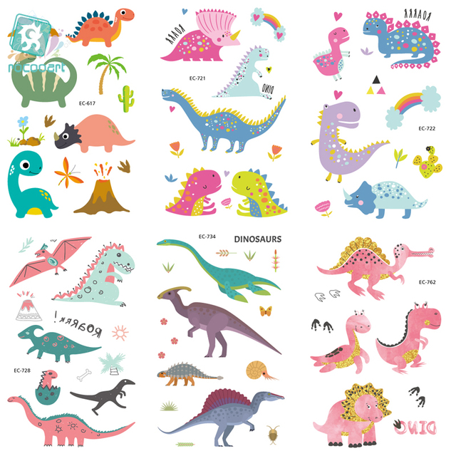 EC617-763 Dinosaure Series Tattoo Sticker Cartoon Children Cute Jurassic Park Temporary Tattoo Sticker Body Art Flash Taty