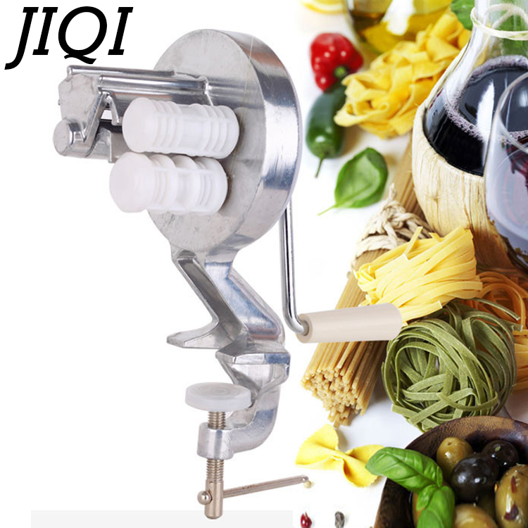 JIQI Italian Noodle Making Machine Spaghetti Pasta Handmade Pressing Maker Manual Handle Fettuccine Cutter Kitchen cooking tools jiqi stainless steel household rolling dough pressing maker manual noddle pasta machine hand dumpling wrappers wonton machine