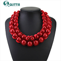 2016 hot sale! EXW fashion simple ribbon chunky necklace red bead bib necklace for women free shipping