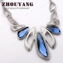 Top Quality Luxury Blue Crystal – Silver Color Pendant Necklace – Party Jewelry – Austrian Crystal