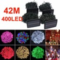 Sale Waterproof 42M/137.8Ft 400 LED RGB Solar Powered Fairy Strip Light for Decorating and Garden