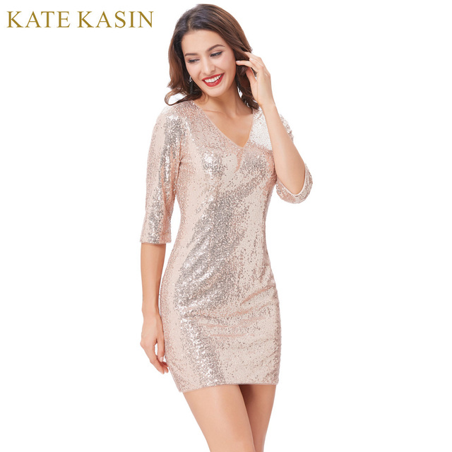 Kate Kasin Bodycon Vintage 1950s 60s Sequins Pencil Derss Robe 3 4 Sleeve V- Neck Party Dresses 2017 Rose Gold Sexy Club Vestidos 2ce875e53d1c