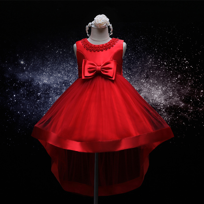 Solid Color Red Sleeveless Formal Dress for Wedding Flower Girl Party Anniversaire Fille Girls Princess Dresses Fashion Design trendy flat collar sleeveless pocket design buttoned dress for women