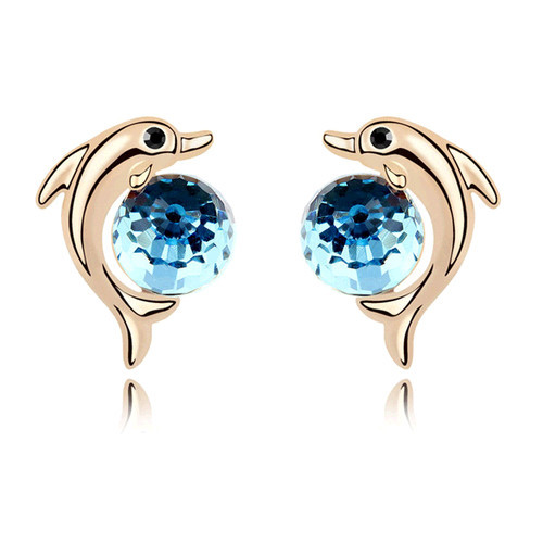 Brincos Jewellery Beautiful Round Stones Dolphin Stud Earrings Large Crystal Rose Gold Earrings For Women Charm Jewelry