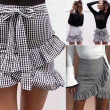 Клетчатая Полосатая юбка, для женщин, для девушек, стрейчевая, простая, высокая талия, Скейтер, расклешенная, с рюшами, плиссированная, трапециевидная, короткая, мини-юбка