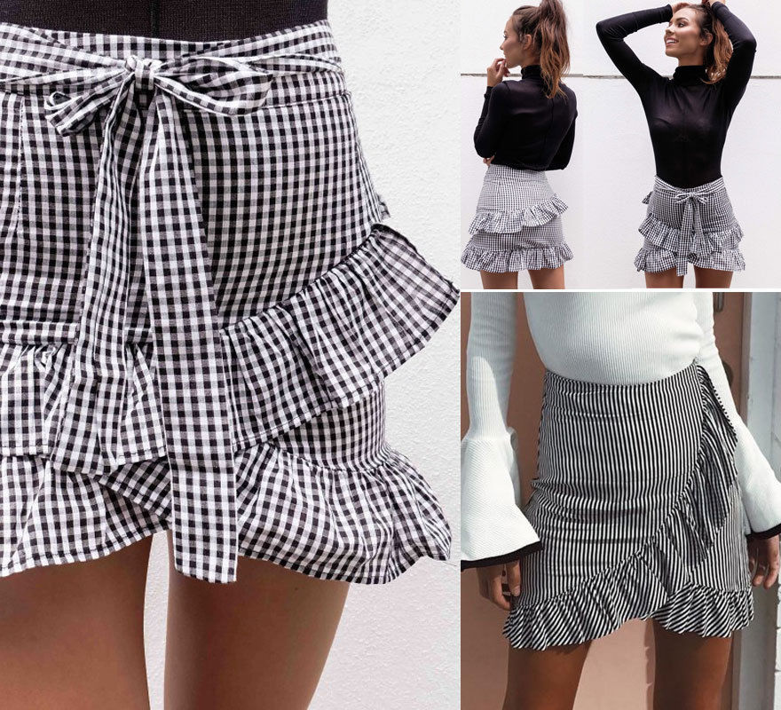 Women's Lady Stretch Plain High Waist Skater Flared Ruffle Plaid Striped Pleated Skirt A Line Short Mini Skirts