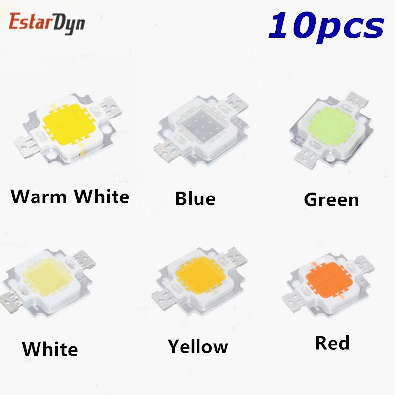 10PCS 10W White/warm White/Red/green/blue/yellow Led Chip 10w Lamp Beads 10W Chip Led 10W LED Chip Integrated High Power