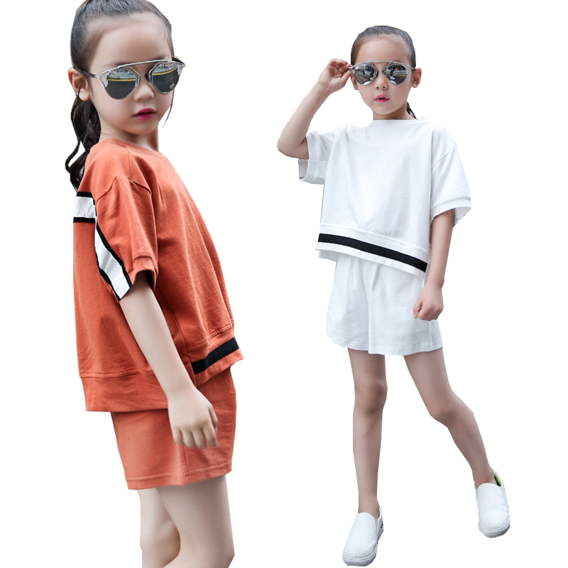 Children Sports Suit 2018 Summer Short Sleeved Striped T-shirt Shorts 2pcs Suit Kids Tracksuit for Girls Clothing Set 6-15 Year