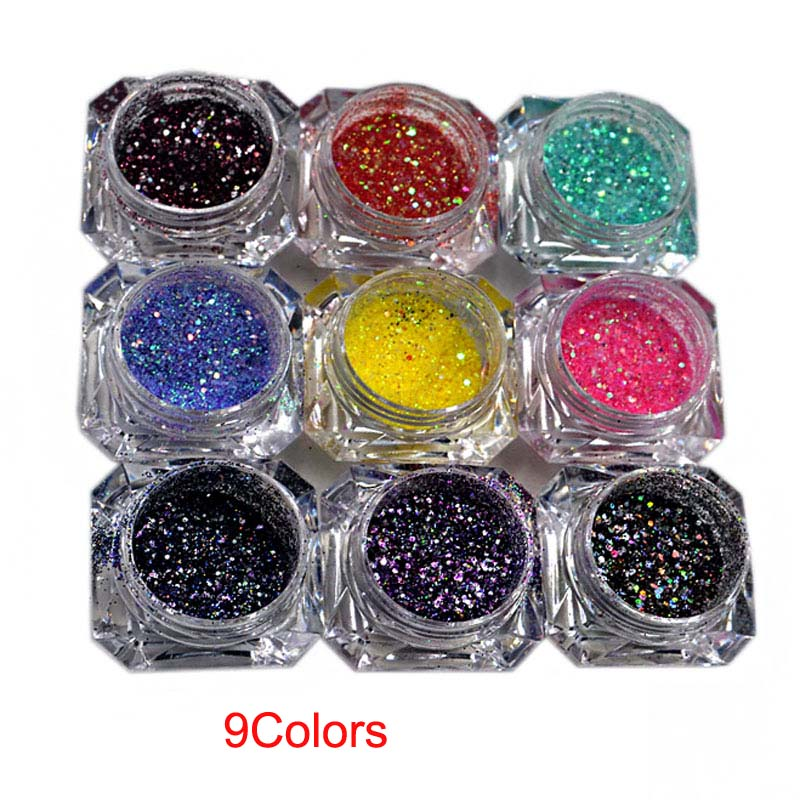 Nail Glitter 9Boxes Set Nail Art Glitte Powder Dust Ultra fine diamond powder mixed ultra fine small sequined nail Glitters M22 in Nail Glitter from Beauty Health