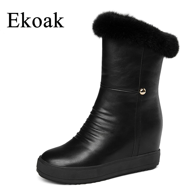Ekoak Fashion Women Snow Boots Winter Shoes Woman Ladies Warm Plush Rabbit Fur Ankle Boots Platform Girls Shoes Leather Boots