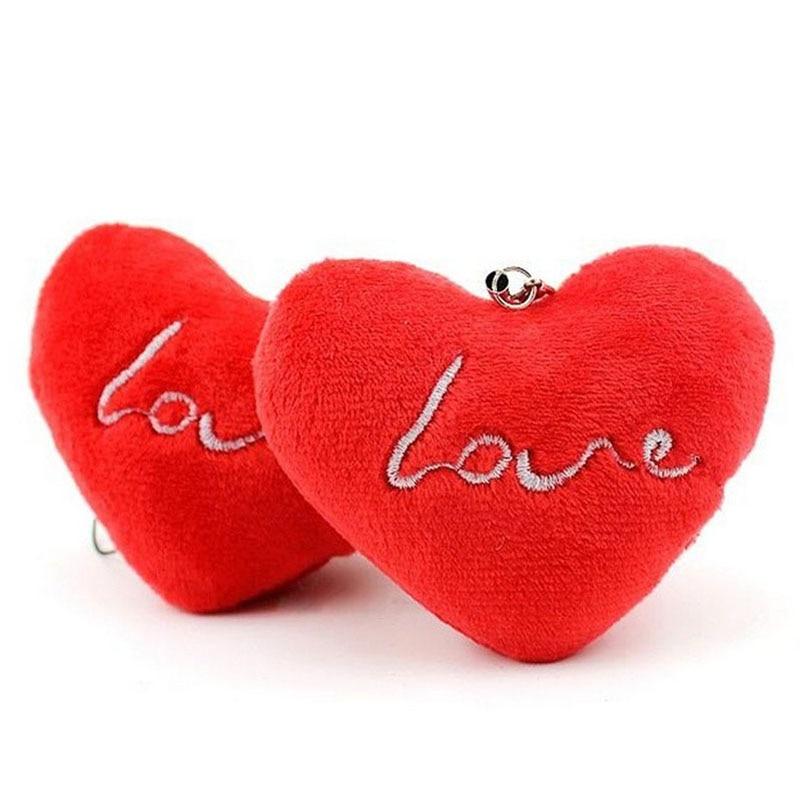 2019 Wedding Love Heart 7CM Plush Stuffed Toy Doll Bouquet Plush Toy Lover's Gift String Charm Pendant Plush Doll Toy I0137