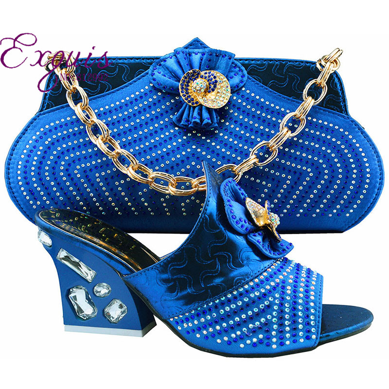 ФОТО Free shipping!! fashion shoes and bags to match Italian design for the lady,royal blue color shoes and bag set GF51