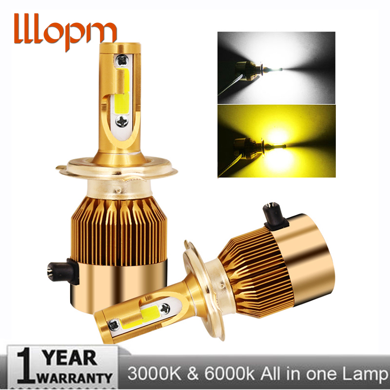 LLLOPM Car Headlight H4 LED H7 LED Bulb 3000K 6000K H1 H3 H8 H11 9005 HB3 9006 HB4 880 881 H27 LED Dual Color Yellow White Light
