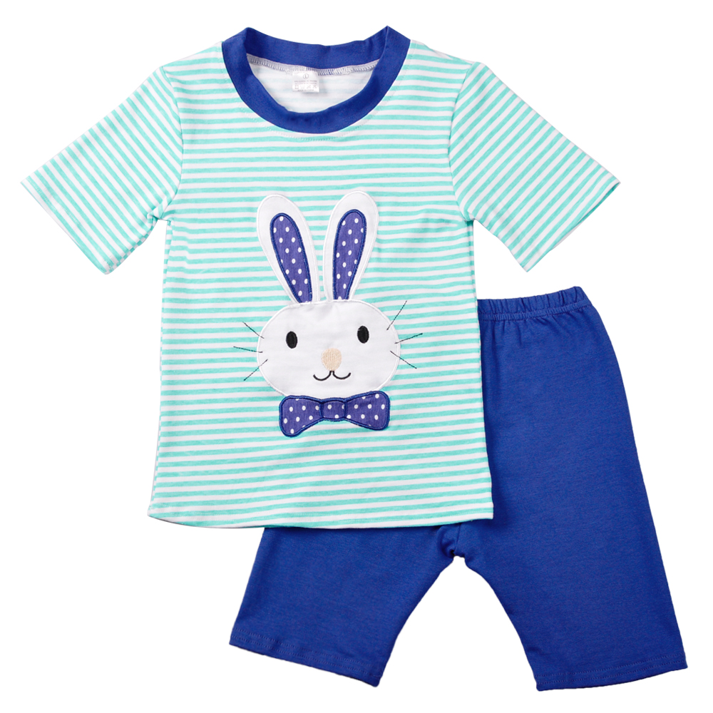 2018 Wholesale Baby Boy Summer Clothing Sets Striped Appliques Bunny Blue Capris  Kids Wear Matching 2 Pcs Outfits E010