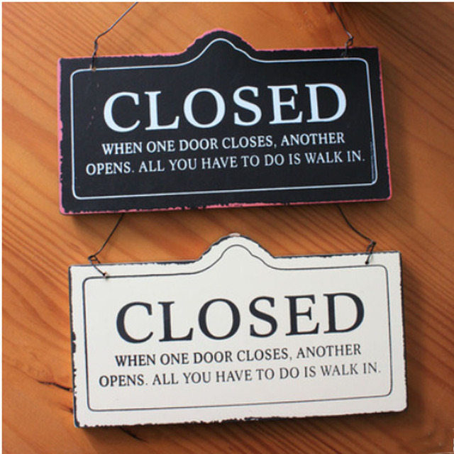 Creative European-styled CLOSED OPEN Double-faced Hanging Door Sign Plate Vintage Wood House : decorative door plates - pezcame.com