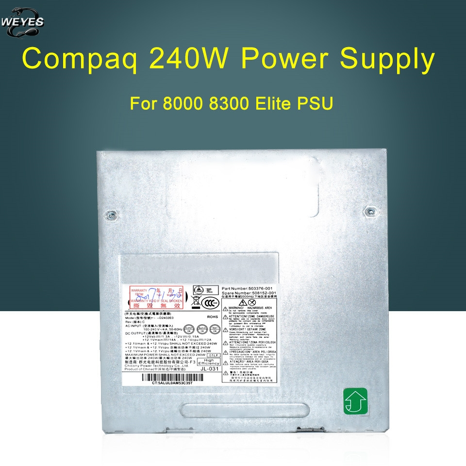 New original 240W Power Supply for Pro 6000, 6005 6200 & Elite 8000, 8100, 8200 SFF 503376-001 508152-001 well tested ...