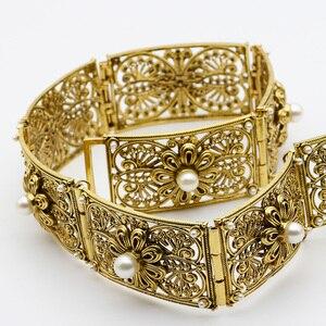 Image 5 - Sunspicems ceinture de caucase ronde en cristal, luxueuse, Noble médiévale, chaîne en métal, longueur ajustable, bijoux de mariage de mariée, cadeau