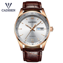 2018 Cadisen Mens Luxury Watches Dial Sapphire Crystal 50M Waterproof Automatic Mechanical Watch Men's Business Watch Male Clock loreo high quality business mechanical corrosion resistant automatic mechanical pearl dial inlay diamond sapphire elegant watch