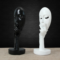 Resin Abstract Craft Figurines Office Decorative Sculptures Human Model Face White Black Classic Household Decorations Figurines