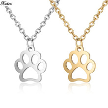 Stainless Steel Fashion Cute Pets Dogs Footprints Paw Chain Pendant Necklace Necklaces & Pendants Jewelry for Women long silver