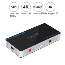 LESHP Switch 5 In 1 Out Port HDMI Switcher Ultra HD 4Kx2K Support 3D for Playing Games Watching Movies Low Power Consumption