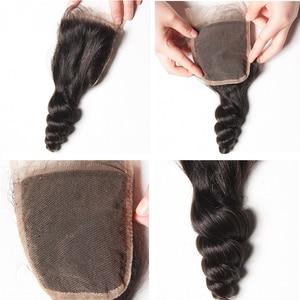 Image 4 - Karizma Brazilian Loose Wave Bundles With Closure 100% Human Hair Weave Bundles 3 Bundles With Closure Free Part Non Remy Hair