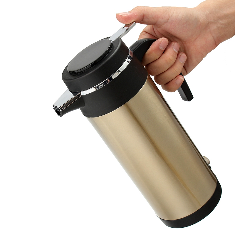 1200ml 12V Based Heating For Truck Use Electric Cup Car Kettle Stainless Steel Cup Kettle Travel Thermoses Coffee Heated Kettle