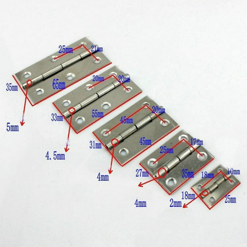 10 Pairs/Lot Folding Type Stainless Steel 304T 65MM Long Size Door Hinges With Ball Bearing