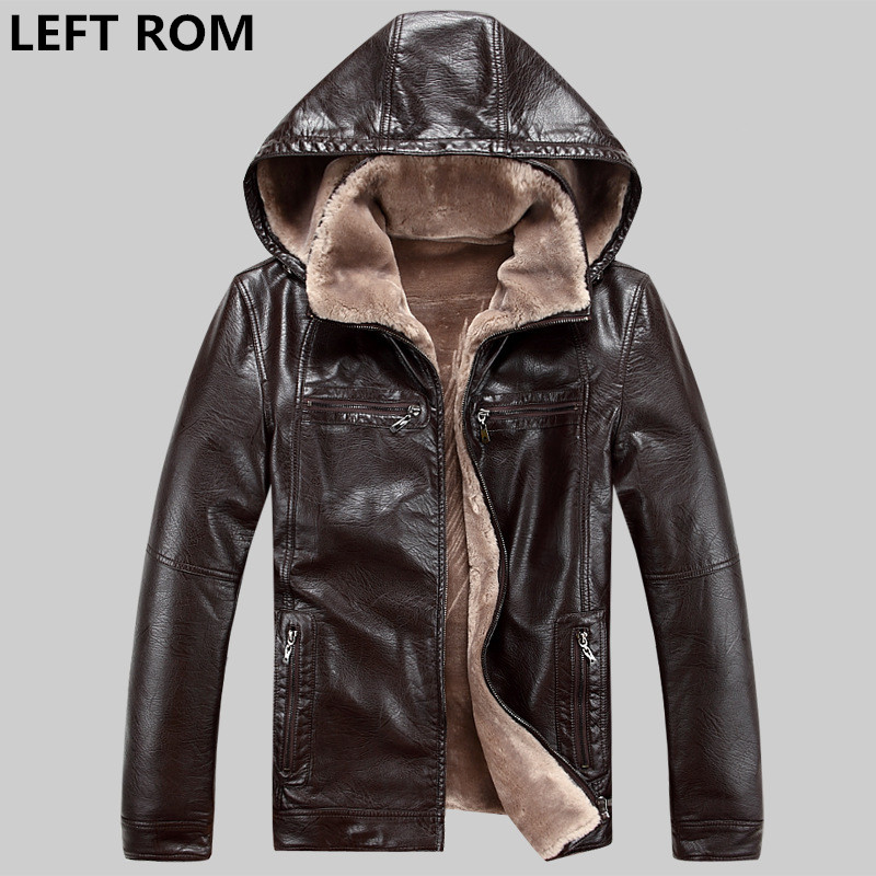 LEFT ROM 2017 Fashion male High-grade pure color Fleece keeping Hooded leather jackets/men slim Fit pure color leisure coat new 2017 male fashion boutique pure color rivets adornment blue leisure jeans male high grade slim foot casual jeans pants