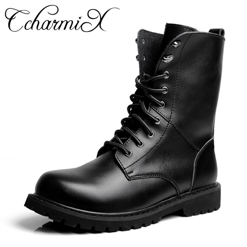 Ccharmix Males's Moto Boots Out of doors Mid-Calf Military Boots Males's Leather-based Navy Desert Tactical Boot Shoe Black Fight Boots Winter
