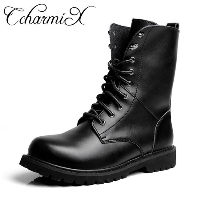 CcharmiX mężczyźni Moto buty Outdoor połowy łydki Army Boots mężczyźni skóra Wojskowa Desert Tactical Boot but Black Combat Buty Zima
