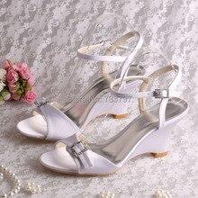 Wedopus Оптовая Пятки Сандалии Свадебные Свадебная Обувь Клин Пятки Женщины White Satin