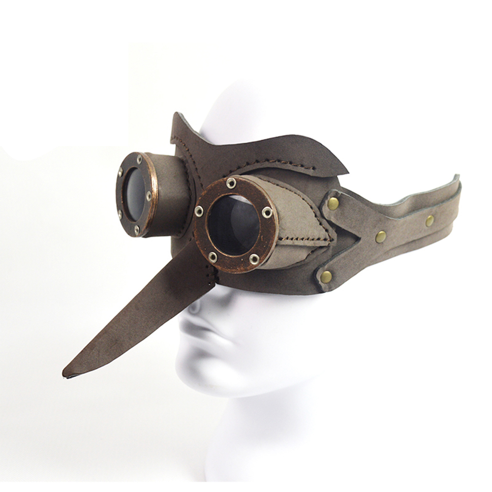 Steel Master Steampunk Hombres Mujeres Retro Brown Eye Mask Party Bar Cosplay Googles Clásico Vintage Halloween Máscaras de escenario para Auge