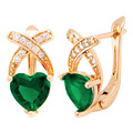 Fashion Classic Crystal Earrings for women 2017 New Trendy Gold Plated Quality Earrings Heart Green Crystal Woman Earrings