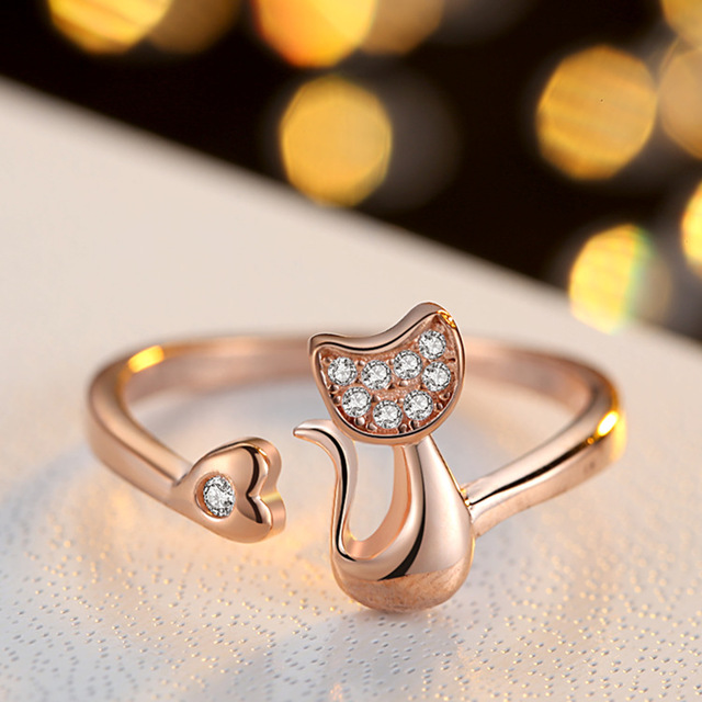QCOOLJLY Rose Gold Color Cat Shape Wedding Engagement Adjustable Ring for Women CZ Jewelry Gift for Girl Party 1