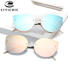 CIVICHIC New Fashion Women Mirror Coating Sunglasses Trendsetter UV400 Oculos De Sol Retro Cat Eye Glasses Streetsnap Gafas E361