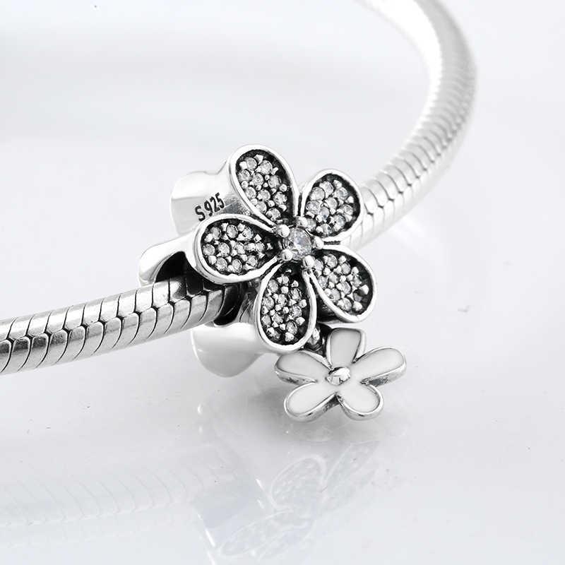 Hot 925 srebro moda biała emalia i CZ kwiatowe koraliki Fit oryginalna bransoletka typu charm pandora tworzenia biżuterii