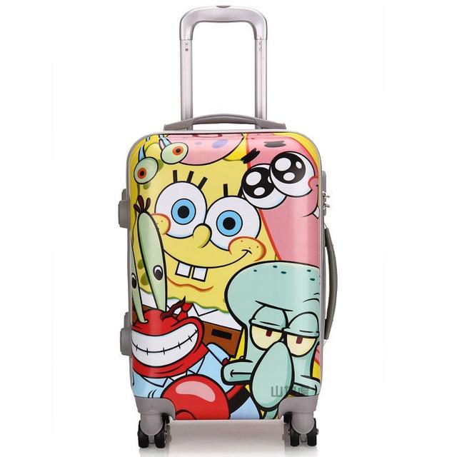 7af3c2aca SpongeBob SquarePants dibujos animados niño maleta de viaje ABS + PC ruedas  universales mujeres Trolley bolsa