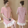 2016 new arrival  short-sleeved round neck striped dress maternity pregnant women loose dress + baby twists