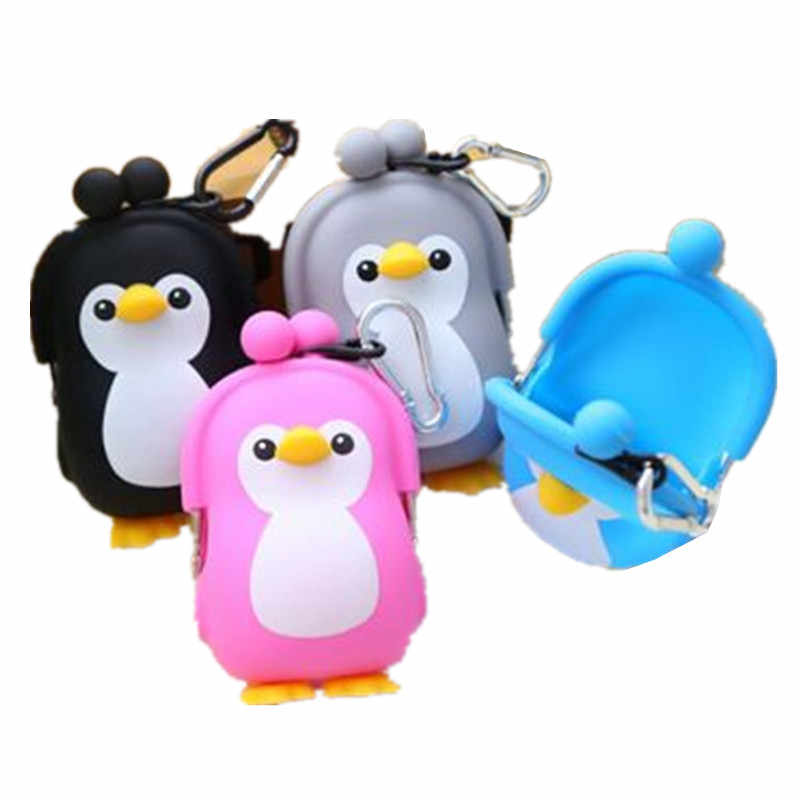 New wallet silicone cartoon wallet penguin boy girl coin bag baby key bag factory wholesale with hook ring change purse case