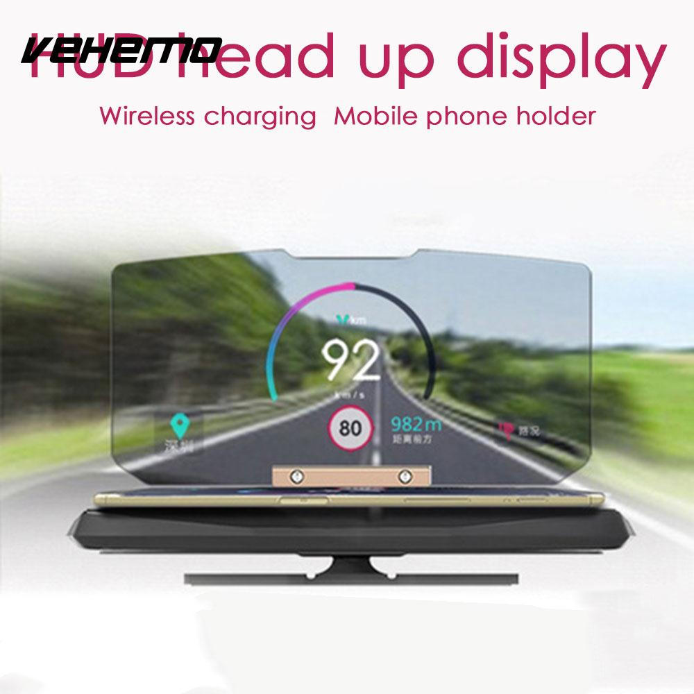 VEHEMO 360 Degree Black Head-Up Display Wireless Charger Phone HUD Stand Car GPS Holder Navigation Projection Bracket