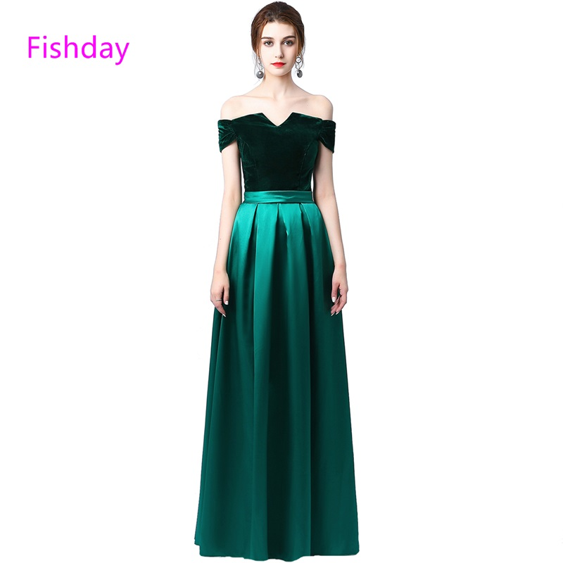 Fishday Long Satin Evening Dress Green Elegant Royal Blue Party Formal Sexy  Gown Abendkleider Robe De Soiree Longue Gown E20 743758575611